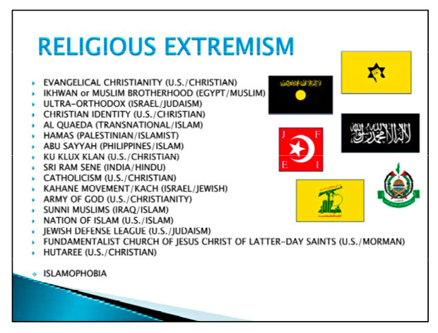 alliance-defending-freedom: slide used-by-the-u-s-army-reserve-in-training-soldiers-on-religious-extremism